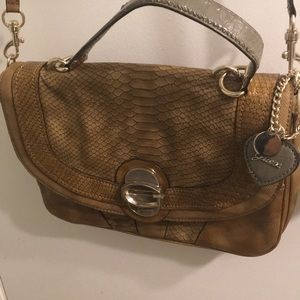 GUESS snakeskin brown handbag purse